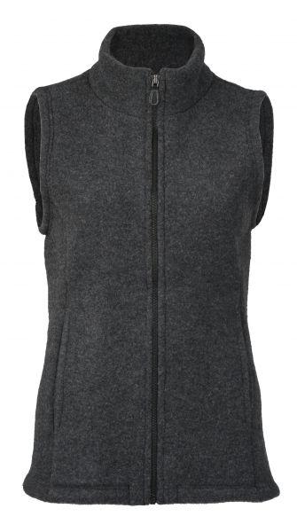 Damen-Weste mit Reißverschluss, tailliert, mit Taschen, dickes Fleece anthrazit