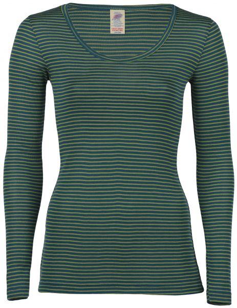 Damen-Shirt langarm, Feinripp hydro/lime (8:4)