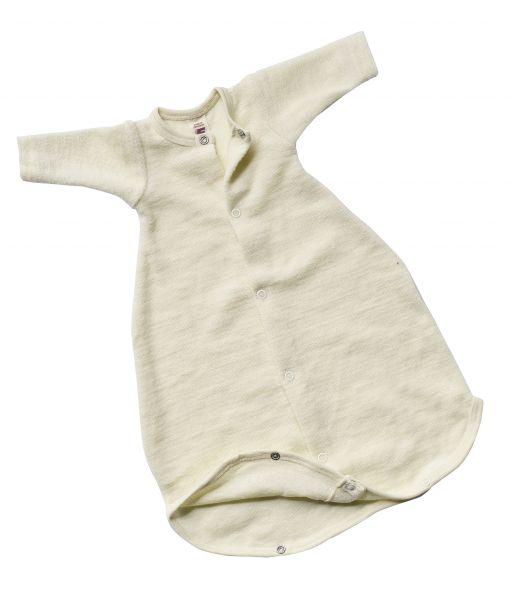 Baby-Schlafsäckchen mit Druckknöpfen, langarm, Frottee natur