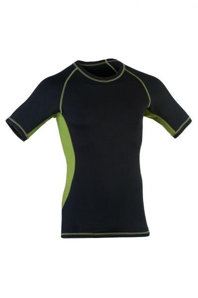 Herren Shirt kurzarm, Einsätze und Nähte in Kontrastfarben black/lime