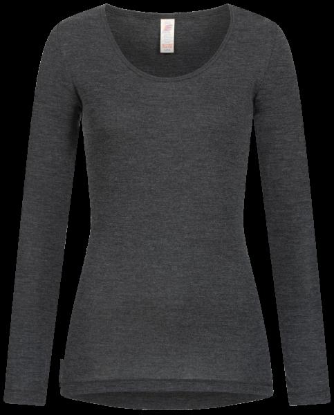 Damen-Shirt langarm, Feinripp basalt