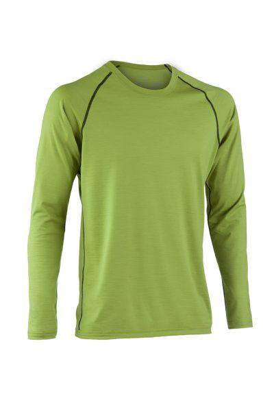 Herren Shirt langarm, Nähte in Kontrastfarben lime