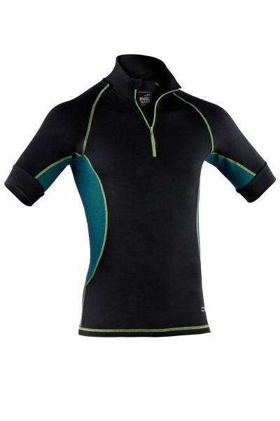 Herren Zip-Shirt kurzarm, Slim fit black/hydro