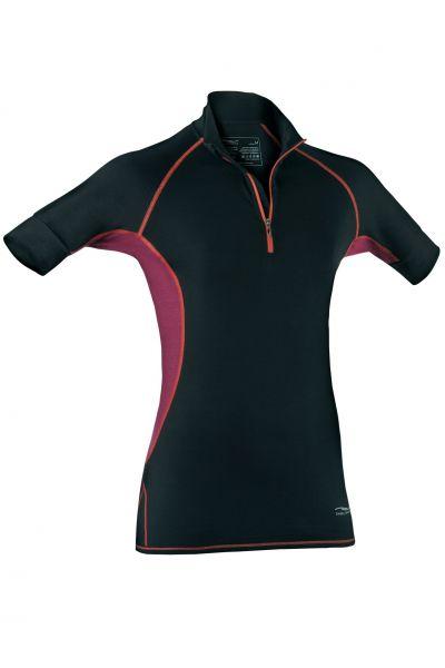 Damen Zip-Shirt kurzarm, Slim fit black/tango red