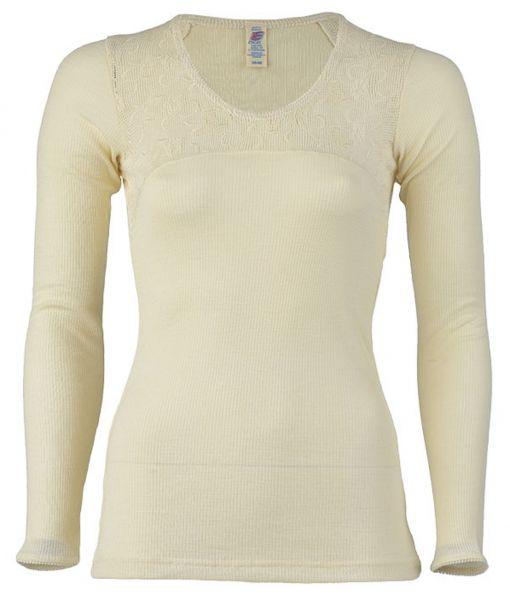 Damen-Unterhemd langarm mit Netztrikot bestickt, Feinripp natur