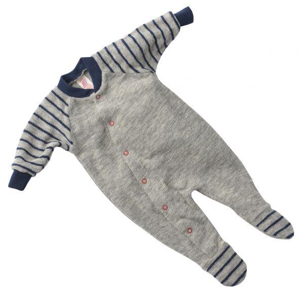 Frühchen-Schlafanzug, einteilig, mit Fuß, Frottee hellgrau melange