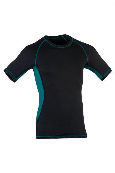 Herren Shirt kurzarm, Slim fit black/hydro