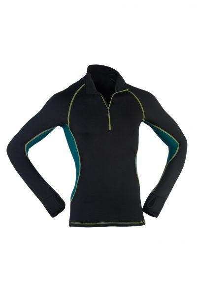 Herren Zip-Shirt langarm, Slim fit black/hydro