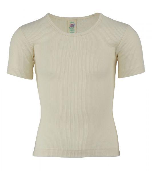 Mädchen-Unterhemd kurzarm, mit Crochetta-Spitze, Nadelzug natur