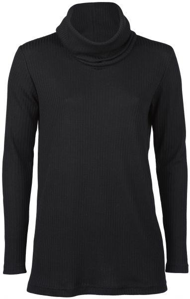 Damen-Longshirt mit Rollkragen, Interlock-Rippe schwarz