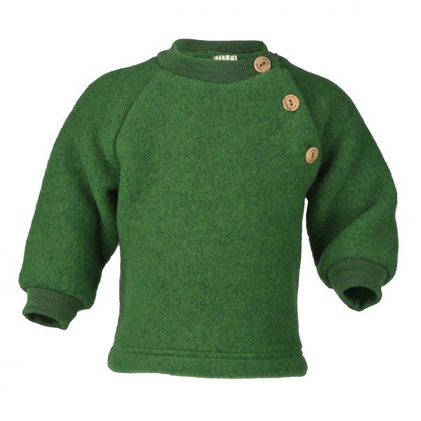 Raglanpullover mit Holzknöpfen, Fleece grün melange
