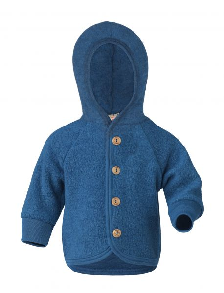 Baby-Kapuzenjacke mit Holzknöpfen, Teddy light ocean