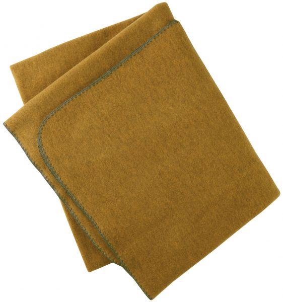 Decke (150x180 cm), mit Muschelkante aus dickem Wollfleece safran melange