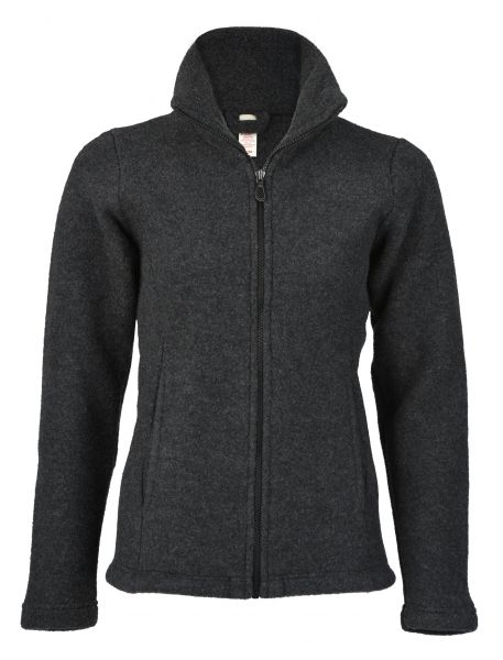 Damen-Jacke mit Reißverschluss, tailliert, mit Taschen, dickes Fleece anthrazit