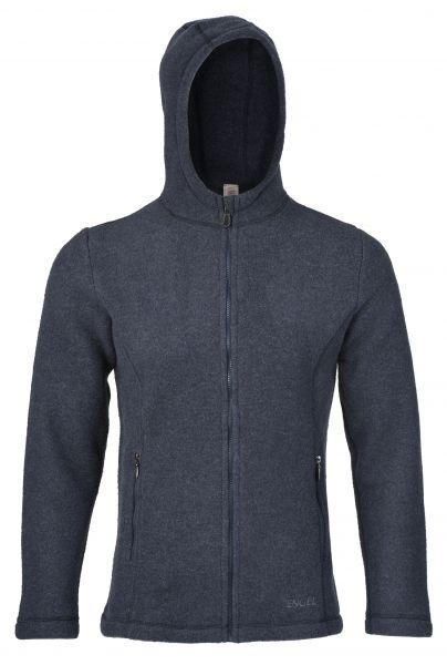 Herren-Jacke, mit Kapuze, tailliert, mit Reißverschluss auch an den Taschen, dickes Fleece denim melange