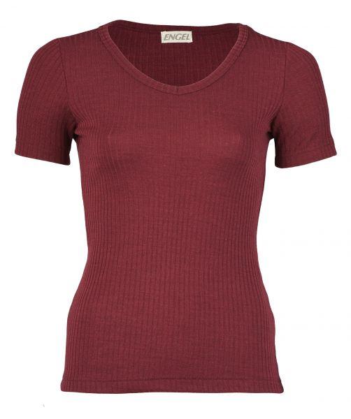 Damen-Shirt kurzarm mit V-Ausschnitt, Interlock Rippe burgund