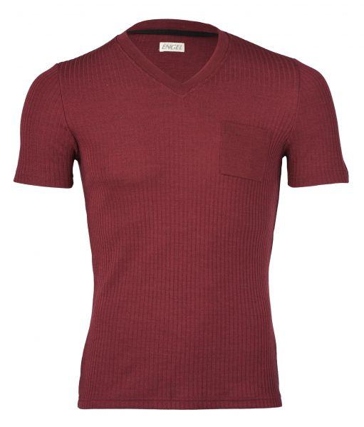 Herren-Shirt kurzarm mit V-Ausschnitt, Interlock Rippe burgund