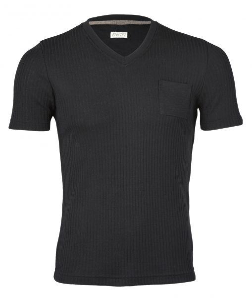 Herren-Shirt kurzarm mit V-Ausschnitt, Interlock Rippe schwarz