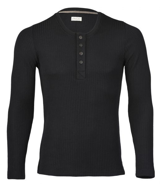Herren-Shirt langarm mit Knopfleiste, Interlock Rippe schwarz