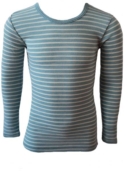 Kinder-Unterhemd langarm, Feinripp antiqueblue/natur (13:5)