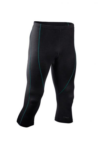 Herren-Leggings 3/4 lang, Nähte in Kontrastfarben, Schlüsseltasche vorne black