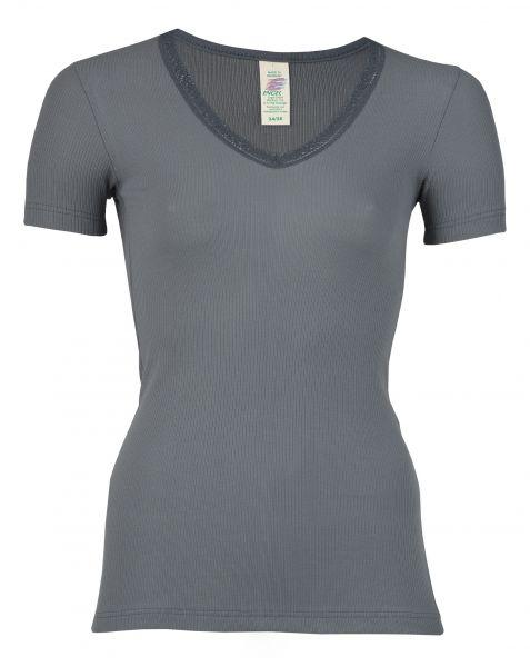 Damen-Shirt kurzarm mit V-Ausschnitt und Spitze, Nadelzug graphit