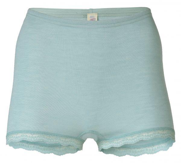 Damen-Pants mit Spitzenabschluss am Bein, Feinripp gletscher