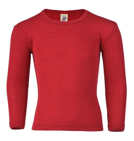 Kinder-Unterhemd langarm, Feinripp kirschrot