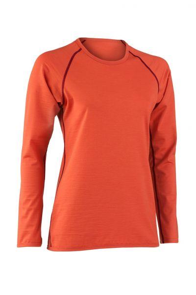 Damen Shirt langarm, Nähte in Kontrastfarben spicy