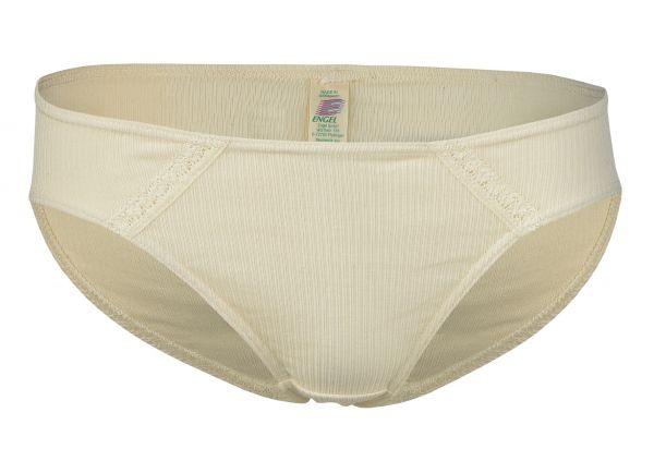 Damen-Bikini-Slip mit Spitzeneinsatz natur
