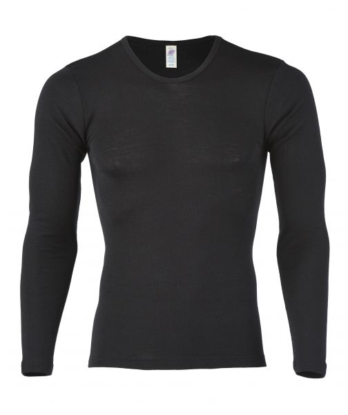 Herren-Shirt langarm, Feinripp schwarz