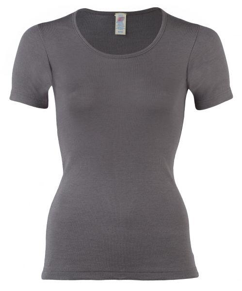 Damen-Shirt kurzarm, Feinripp taupe
