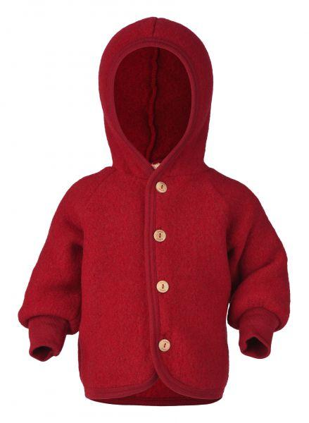 Baby-Kapuzenjacke mit Holzknöpfen, Fleece rot melange