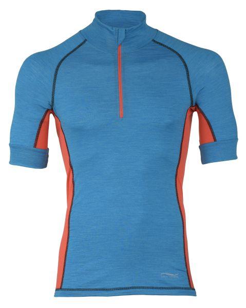 Herren Zip-Shirt, Single Jersey sky melange/spicy