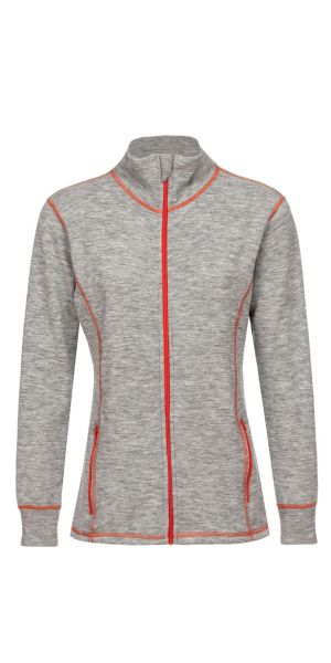 Damen-Jacke sportiv, Frottee inside out hellgrau melange (mit orange)