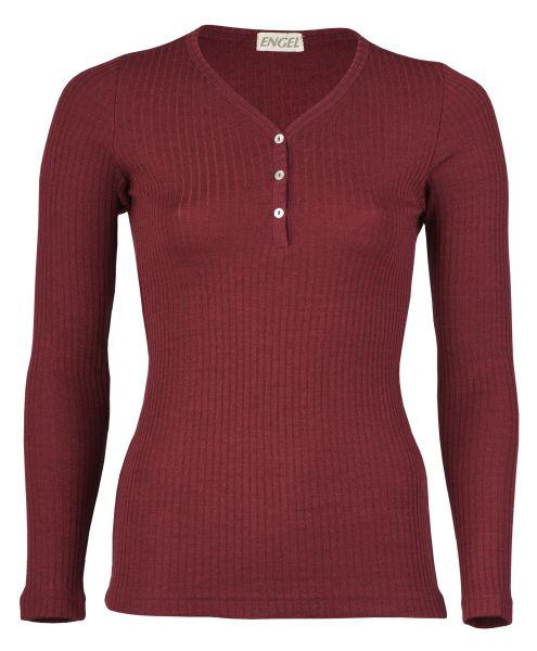 Damen-Shirt langarm mit Knopfleiste, Interlock Rippe burgund