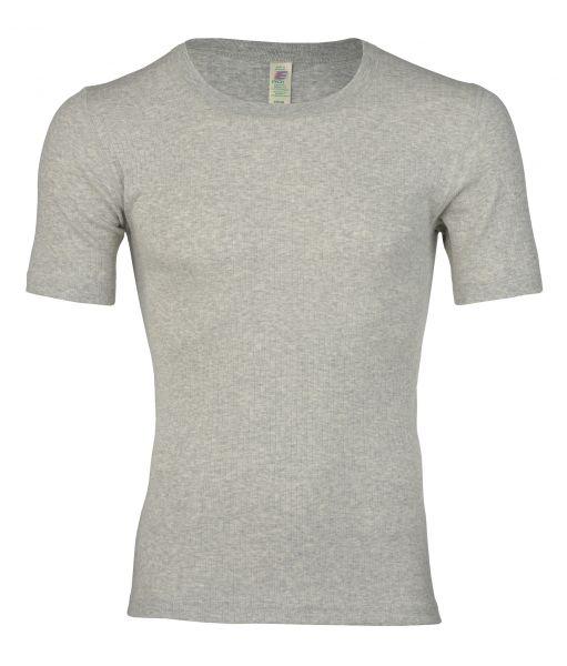 Herren-Shirt kurzarm, Nadelzug hellgrau