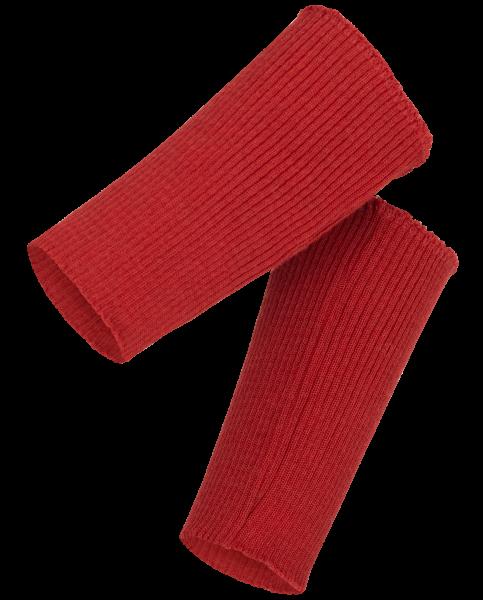 Armstulpen/Pulswärmer aus 2:2-Rippe, Feinripp rot melange