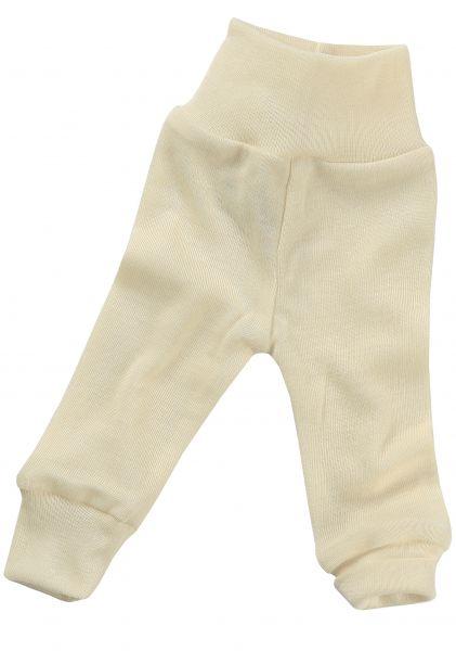 Baby-Hose lang mit Nabelbund, Feinripp natur