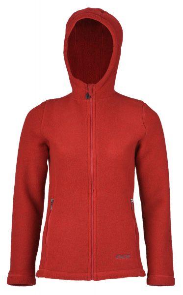 Damen-Jacke mit Kapuze, tailliert, mit Reißverschluss auch an den Taschen, dickes Fleece rot melange