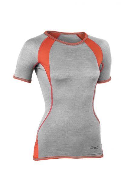 Damen-Shirt kurzarm, Slim fit silver stone/spicy
