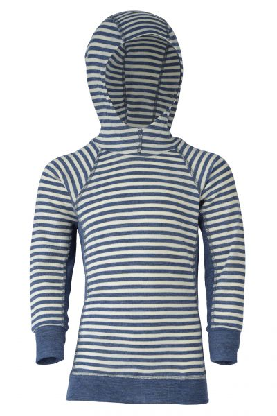 Kinder-Hoody, Feinripp blau melange/natur (9:9)