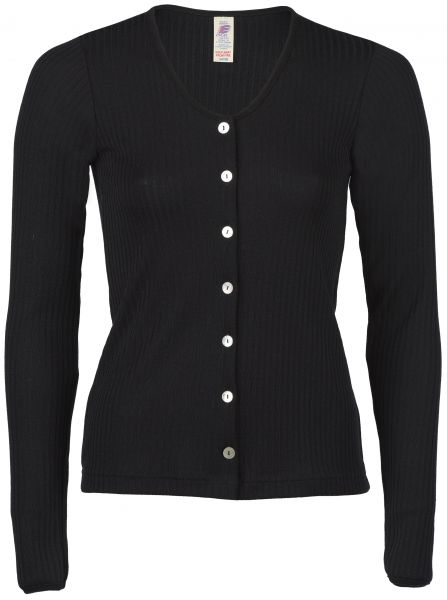 Damen-Cardigan, Interlock-Rippe schwarz