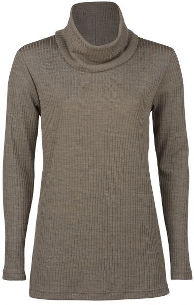 Damen-Longshirt mit Rollkragen, Interlock-Rippe walnuss