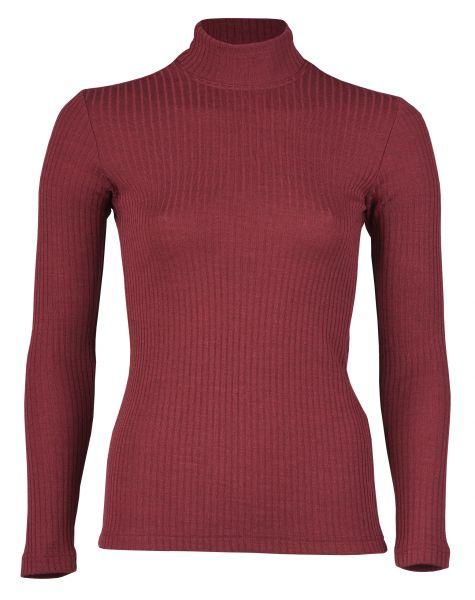 Damen-Shirt langarm mit hohem Stehkragen, Interlock Rippe burgund