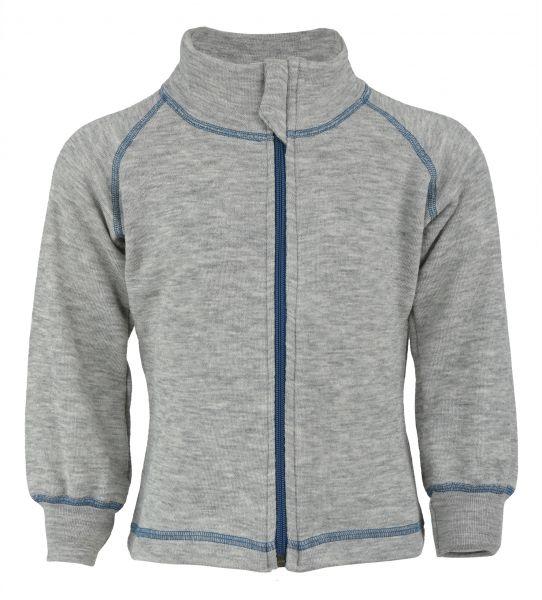 Sportive Zip-Jacke für Kinder, mit Kontrastnähten und Kinnschutz, Frottee Inside out hellgrau melange (mit blau)