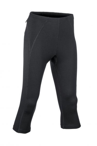 Damen-Leggings 3/4 lang, Nähte in Kontrastfarben, Schlüsseltasche mit Reißverschluss hinten black