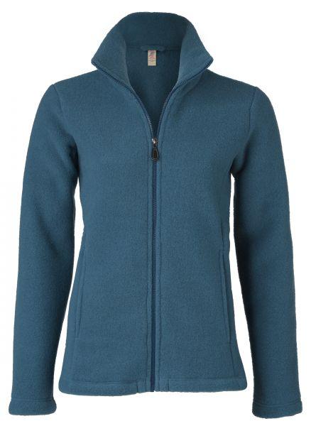 Damen-Jacke mit Reißverschluss, tailliert, mit Taschen, dickes Fleece atlantik