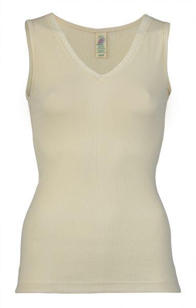 Damen-Achselhemd mit V-Ausschnitt und Spitze, Nadelzug natur