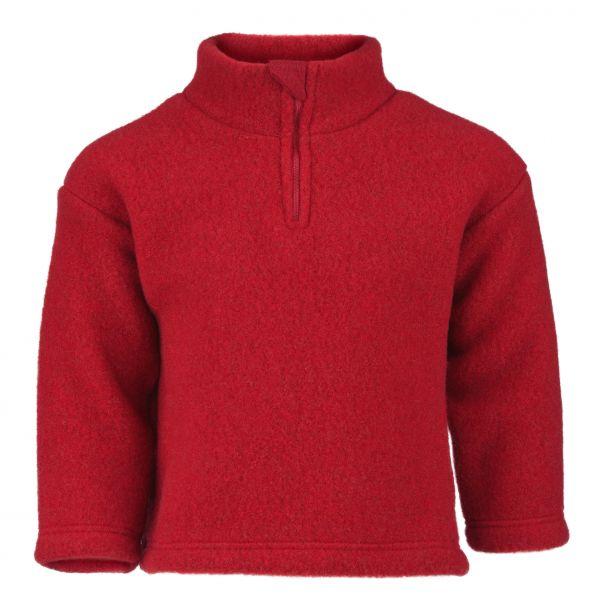 Pullover mit Reißverschluss und Kinnschutz, Fleece rot melange